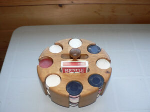 Wooden Poker Chip Carousel Caddy