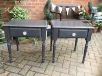 PAIR DARK GREY SIDE TABLES/BEDSIDE TABLEZ