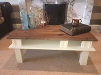 Stunning Solid Oak Coffee Table With Cream Base
