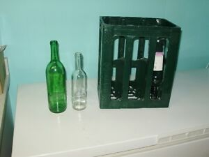 wine bottles and plastic crates
