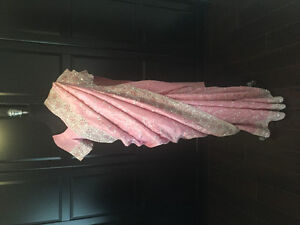 Pink tissue organza Saree with full silver embroidery