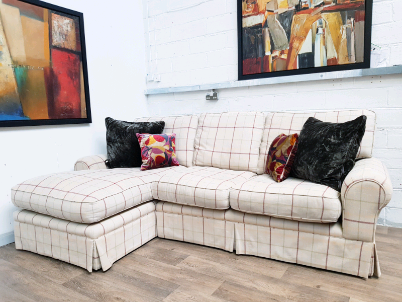 Laura Ashley Kendal Corner Sofa In Check Fabric Rrp 2500 In
