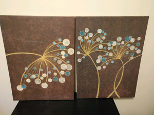 2 abstract wall hangings