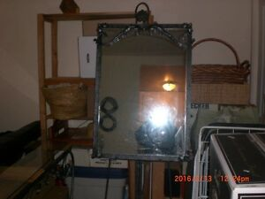 """Mirror 26"""" x 37""""+ 74""""H with glass table 4' x 10"""" x 32"""" H"""