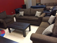 Liquidation brown fabric sofa set