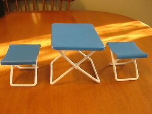 BARBIE DOLL FURNITURE CAMP TABLE AND CHAIRS