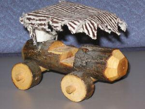 Wooden Handcrafted Primative Fred Flintsone like Car Wood Toy