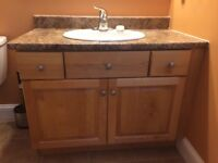 Solid Birch vanity with countertop and sink