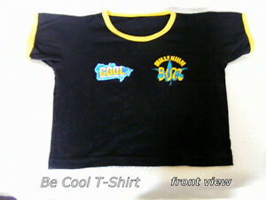 Black T-shirt S yellow trim BE COOL & Millennium Buzz logos, new