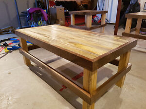 pallet style coffee table and end tables