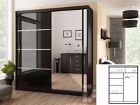 same day delivery!! BRAND NEW GERMAN BLACK HIGH GLOSS 2 DOOR VISTA SLIDING WARDROBE