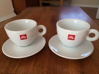 Set of Two Illy Cappuccino Coffee Cups w Saucers From Italy
