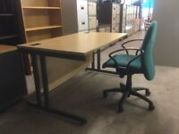 Maple office desk with swivel chair included