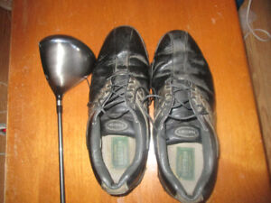 Golfing shoes and a driver club.