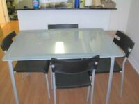 ikea glass dining table with 4 chairs
