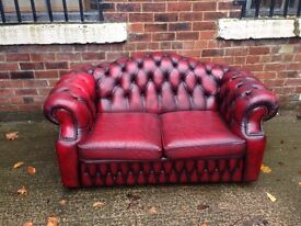 Vintage Distressed Chesterfield Leather 2 Seater Sofa - UK Delivery