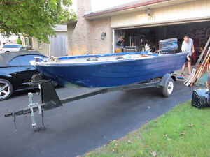 14 foot boat, trailer, two 50h outboards