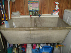 Vintage Concrete double laundry sink
