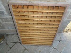 Antique wooden letter press drawer