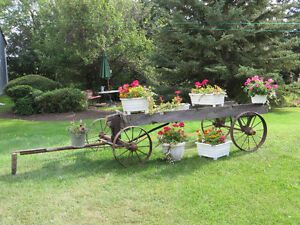Wooden Wagon with metal wheels