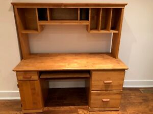 Solid Wood Pine Computer Desk with Hutch