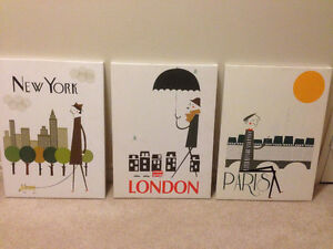 *REDUCED* Mid-Century Canvas Art-Set Of 3 For Sale!