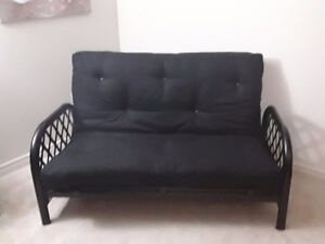 Black Metal Frame Futon Couch with Thick Mattress