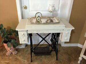 Chalk Painted Sewing Machine Cabinet
