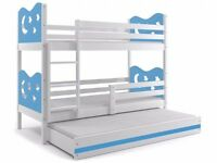 Triple Bunk Bed MAX White / Blue & Stars 200x90