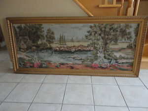Vintage collectible large handmade tapestry wall hanging