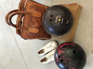 Vintage Bowling Bag, Balls and Shoes