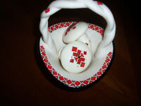 Ukrainian embroidery pattern Salt and Pepper Shakers and Basket