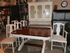 Antique table with 5 chairs and buffet..freshly refinished.