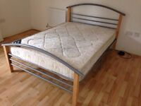 4ft6 double wooden metal bed frame- Brand New