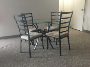 Glass Dinning/Card Table Set (c/w 4 chairs) - FOR SALE