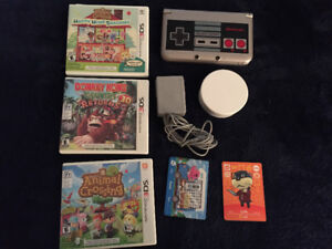 Nintendo 3DS XL 3 games, charger, NFC reader, 99 Amiibo cards