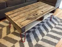 Rustic Compact Recycled Solid Oak Wood Coffee Table