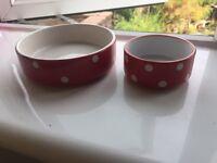 2 mason cash pet bowls
