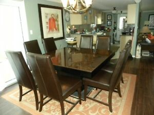 Dining Room Table And 8 Brown Leather Parson Chairs