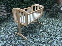 Beautiful wooden crib moses basket with brand new mattress still in packaging - never been used!
