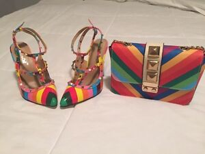 Rainbow shoes and purse / Valentino inspired Oakville / Halton Region Toronto (GTA) image 1