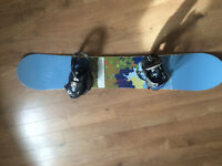 Snowboard, boots and helmet