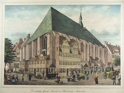 HAMBURG RÖDINGSMARKT HEILIG-GEIST-KIRCHE PETER SUHR ALTKOL LITHOGRAPHIE 1840 H22