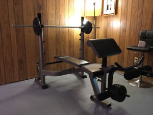 Multifunctional Bench Press with weights 100+lbs MUST SELL