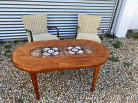 Vintage retro Danish oval wooden teak 60s 70s tiled coffee table