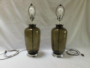 Vintage 60-70s, dark smoked glass Lamps, chrome base & throat
