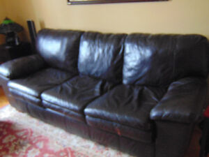 Leather sofa double bed (pull out) + leather foot stool
