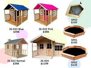 Kids Wooden Cubby House Outdoor Playhouse + Windows Sandpit Derrimut Brimbank Area Preview