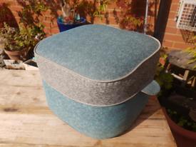 Retro Mid Century grey blue footstool pouffe