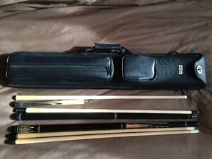 Pool cues (3) and case